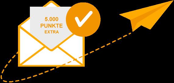 5.000 Punkte extra für Newsletteranmeldung