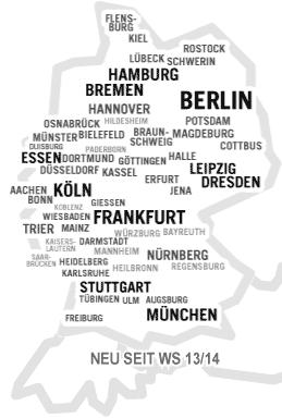Geotagcloud Deutschland: die größten Unitürme